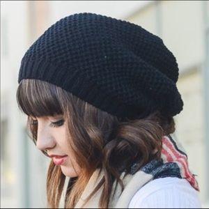 Knit slouchy beanie hat